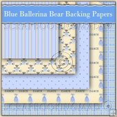 5 Blue Ballerina Bears Backing Papers Download (C160)