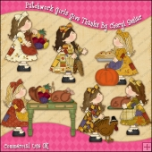 Patchwork Girls Give Thanks ClipArt Graphic Collection