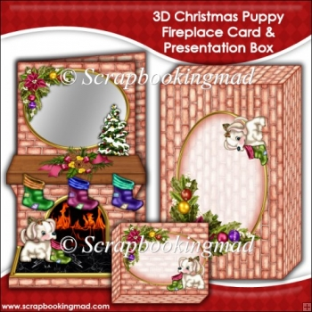 3D Christmas Puppy Fireplace Card & Presentation Box