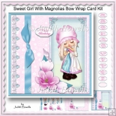 Sweet Girl With Magnolias Bow Wrap Card Kit