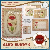 Antique Poppies Scalloped Fold Card Kit