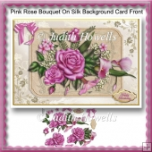 Pink Rose Bouquet On Silk Background Card Front