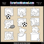 Peek A Boo Bears Sports Digital Stamp Graphic Collection