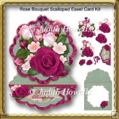 Rose Bouquet Scalloped Easel Card Kit