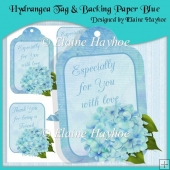 Hydrangea Tag & Backing Paper Blue