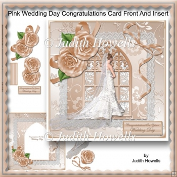 Pink Wedding Day Congratulations Card Front And Insert