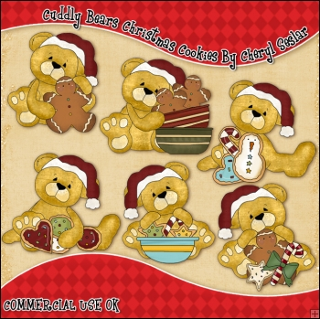 Cuddly Bears Christmas Cookies ClipArt Graphic Collection