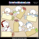 Polar Bear Christmas Tags ClipArt Collection