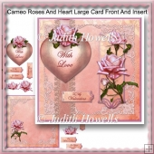 Cameo Roses And Heart Large Card Front And Insert