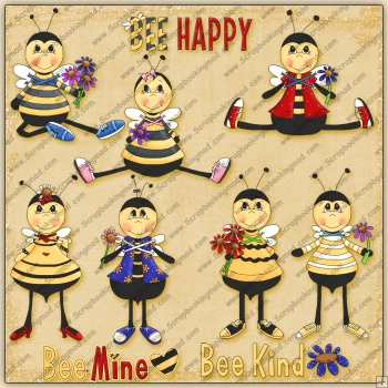 Bee Happy ClipArt Graphic Collection