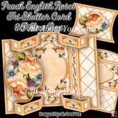 Peach English Roses Tri Shutter Card Set