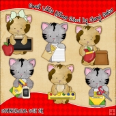 Sweet Little Kittens School ClipArt Graphic Collection