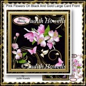 Pink Flowers On Black And Gold Large Card Front