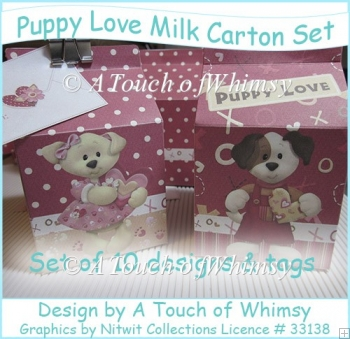 Puppy Love Milk Carton Set