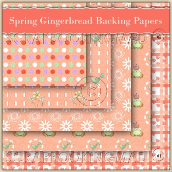 5 Spring Gingerbreads Backing Papers Download (C102)