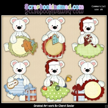 Stuffed Polar Bears Christmas Sentiments ClipArt Collection