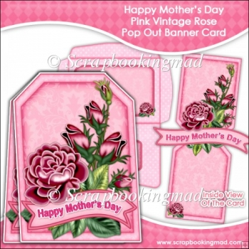 Happy Mothers Day Pink Vintage Rose Pop Out Banner Card