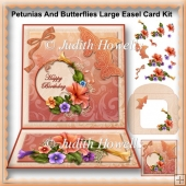 Petunias And Butterflies Large Easel Card Kit