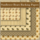 5 Sunflower Bears Backing Papers Download (C168)