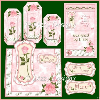 Pink Rose Card Kit and Gift Boxes