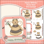 Happy Birthday Buzzy Bear Decoupage Download