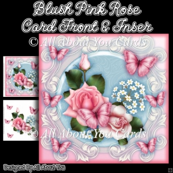 Blush Pink Rose 8x8 Fancy Card Front