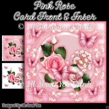 Pink Rose 8x8 Fancy Card Front