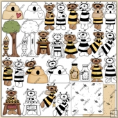 Honey Bee Bear 1 ClipArt Graphic Collection