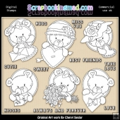 Oval Bears Valentines Digital Stamp Graphic Collection