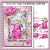 Flower Fairy Roses And Butterflies Card Front