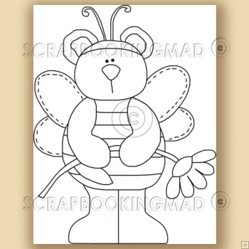 Butterfly Honey Bear - Digital Stamps