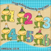 Froggy Birthday Numbers ClipArt Graphic Collection