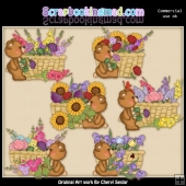 Fuzzy Cubs Flower Baskets ClipArt Collection