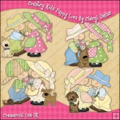 Country Kids Puppy Love ClipArt Graphic Collection