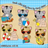 Sweet Little Kitty Beach ClipArt Graphic Collection