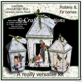 Lantern Shaped Gift Boxes/Luminaries - Robins & Fir Cones