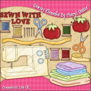 Sewing Elements ClipArt Graphic Collection