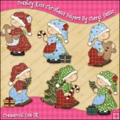 Country Kids Christmas Helpers ClipArt Graphic Collection