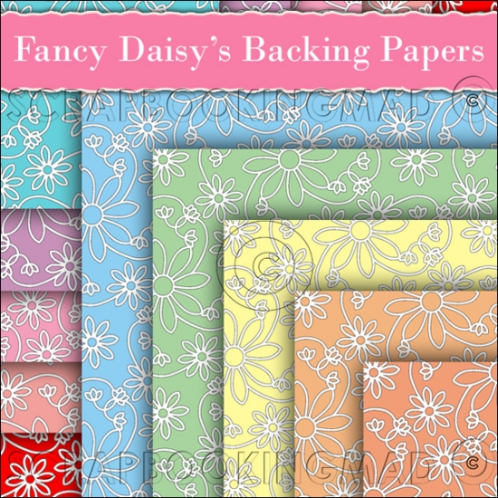 10 Fancy Daisy's Backing Papers Download (C187) - Click Image to Close