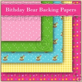 5 Birthday Bear Backing Papers Download (C213)