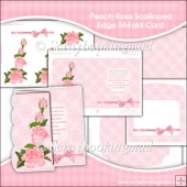 Peach Roses Birthday JPEG Scalloped Edge Tri-Fold Card Download