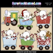 Polar Bear Christmas Train ClipArt Collection