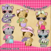 Hip Kitties ClipArt Graphic Collection