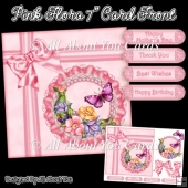 "Pink Flora 7"" Card Front"