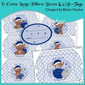 6 Extra Large Pillow Boxes & Gift Tags