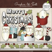 Merry Christmas Santa 1 ClipArt Graphic Collection