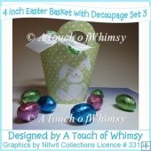 4 Inch Easter Baskets With Decoupage - Set 3