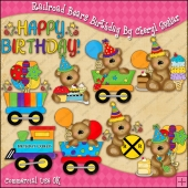 Railroad Bears Birthday ClipArt Graphic Collection