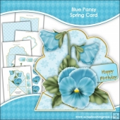 Blue Pansy Spring Card