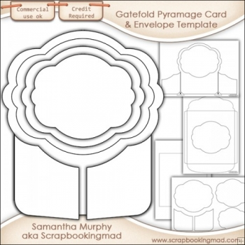 Gatefold Pyramage Card & Envelope Template Commercial Use